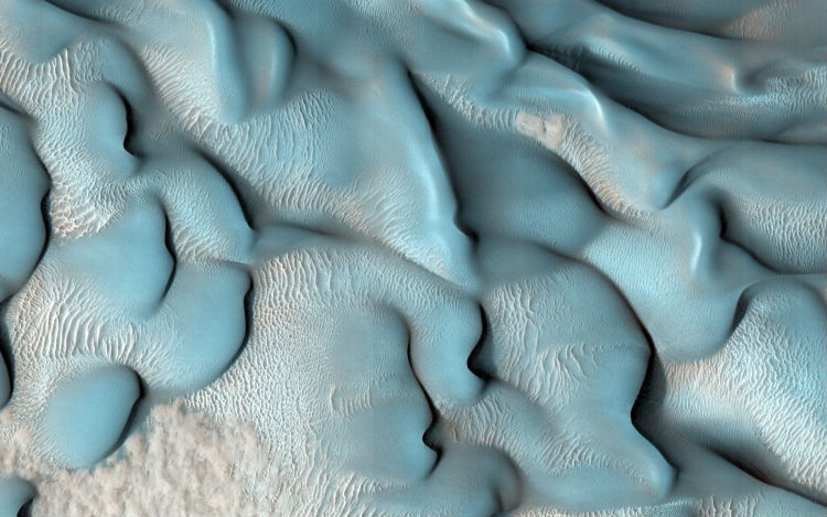 The rolling sand dunes of Mars