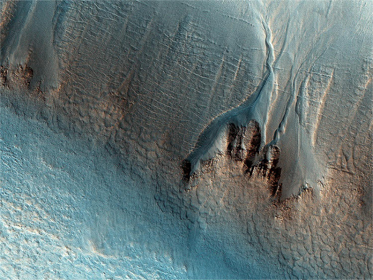 Gullies formed in a Martian crater