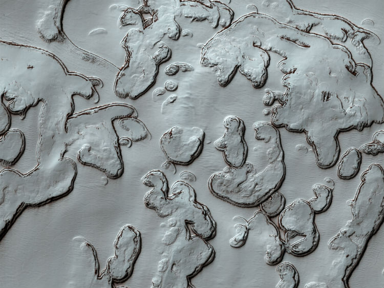 South Polar ice caps on the surface of Mars