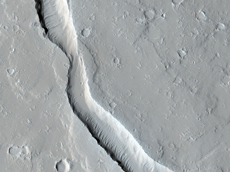 A long and winding lava channel on Mars