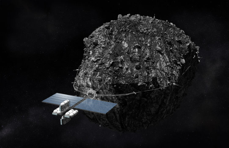 A Space Probe Hauling an Asteroid