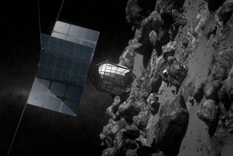 A Space Probe Mining an Asteroid