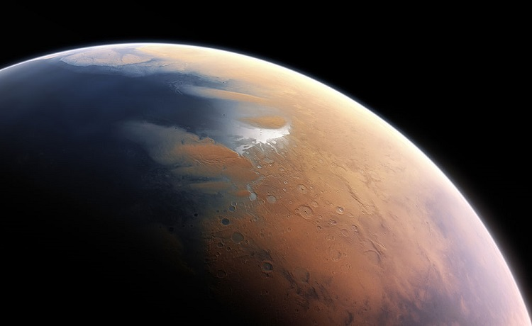 Artist's depiction of Mars, with added oceans