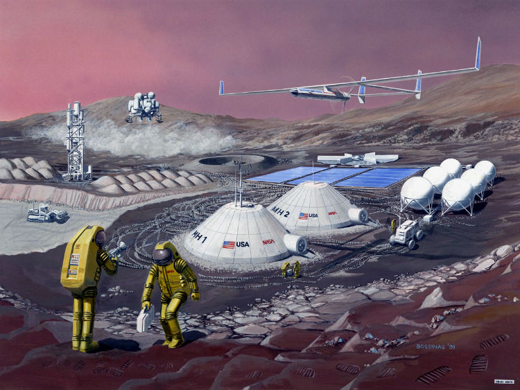 An artist's idea of what a future Mars base might look like