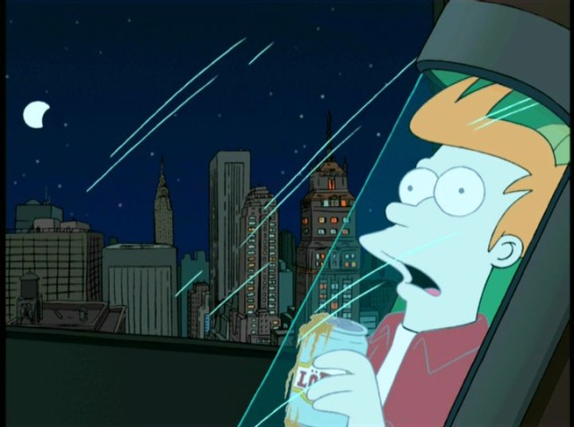Futurama Fry being cryopreserved