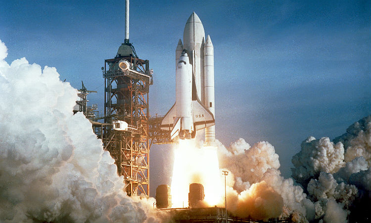 Space Shuttle Columbia first launch during STS-1