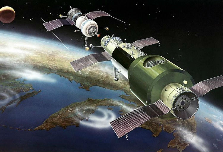 Artwork of Soyuz-Salyut docking maneuver