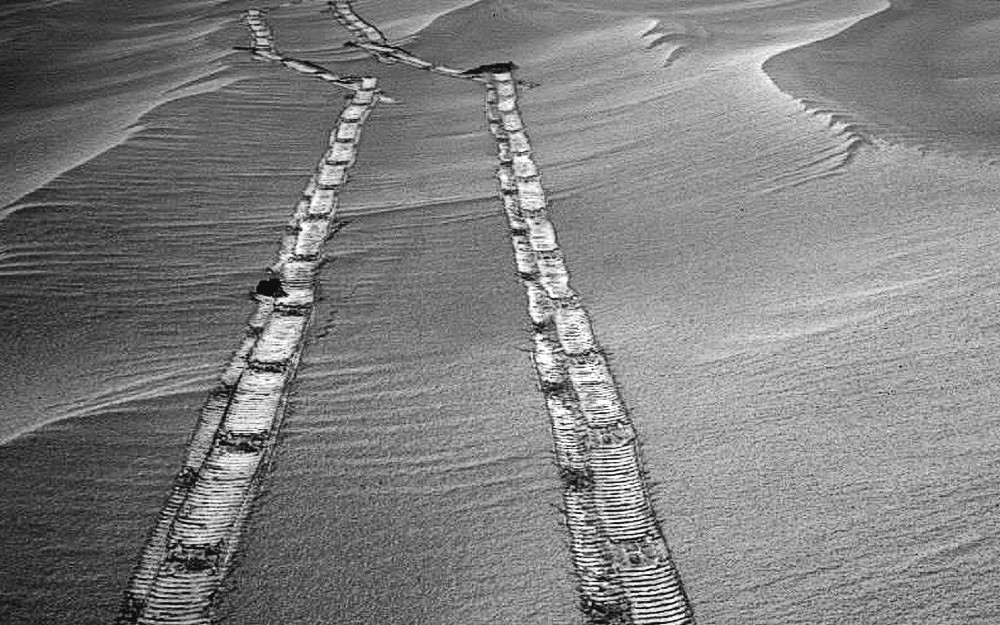 The Rover Tracks of the Opportunity Rover