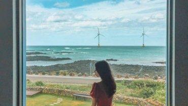天然的日落海景油画!济洲岛必去的文艺咖啡店,白色风车海岸超治愈~