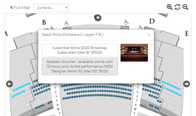 A screenshot of the options that show up after selecting a seat