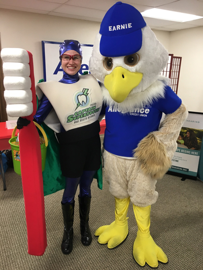 The Captain with Earnie from Alliance Credit Union!