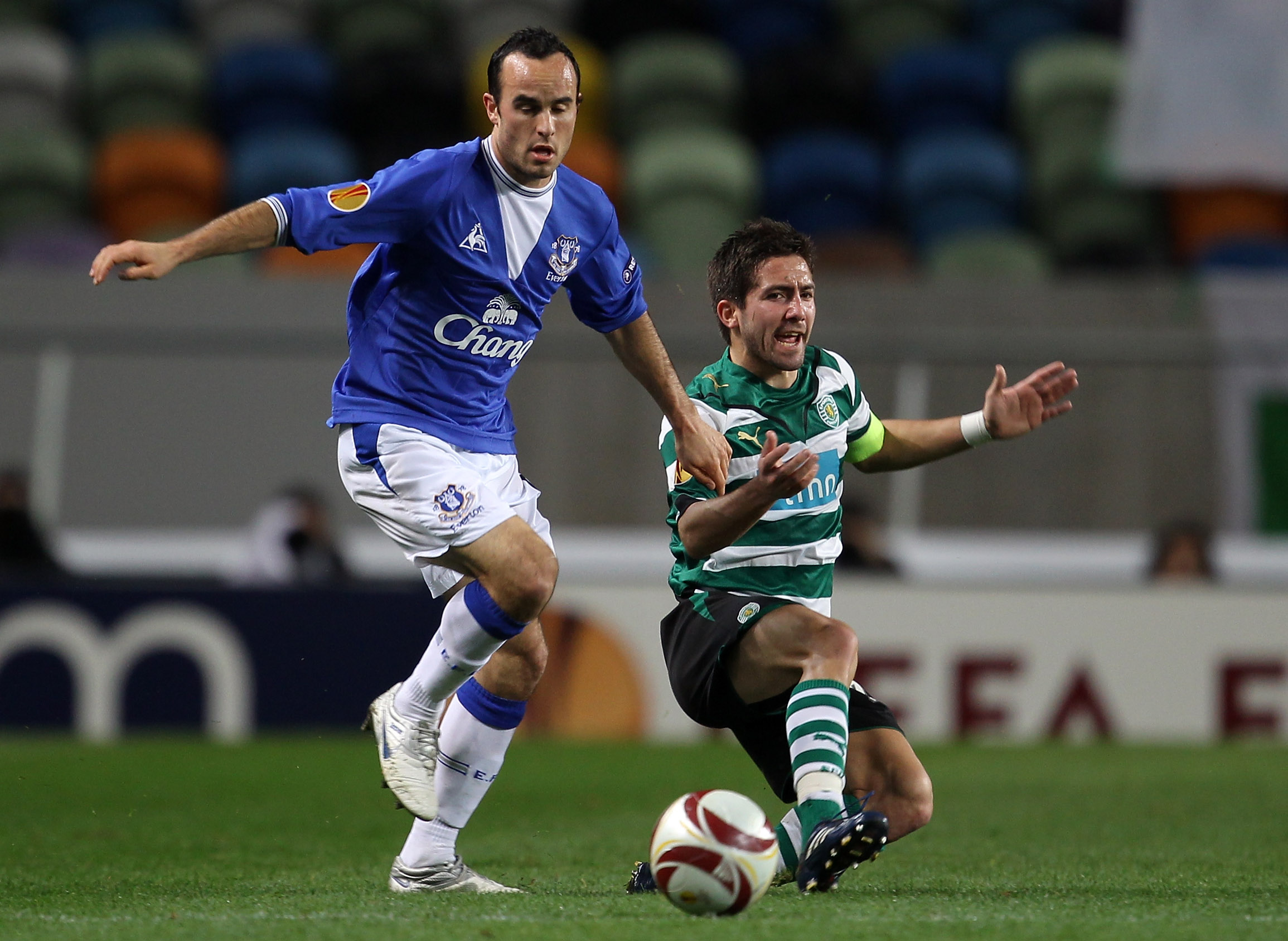 Donovan in action against Sporting Lisbon during his first loan spell at Everton in 2010