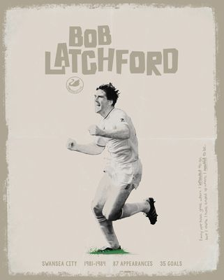 Bob Latchford Signed Limited Edition Swansea Art Print