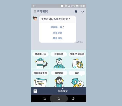 圖說:萬小芳LINE@功能介面:包含人工智慧掛號、看診進度查詢及專人電話諮詢