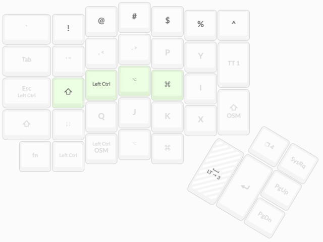 diagram showing an ergodox keyboard layout for the left hand