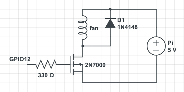 circuit with gate resistor and flyback diode