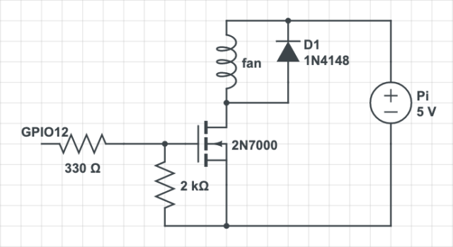 circuit with gate resistor, flyback diode and gate pulldown resistor