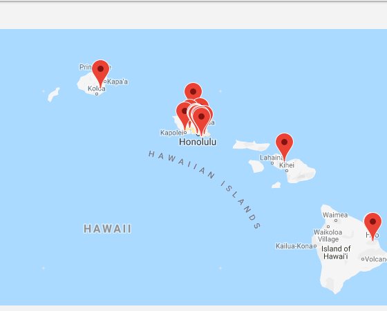 Map of institutions in Hawaii