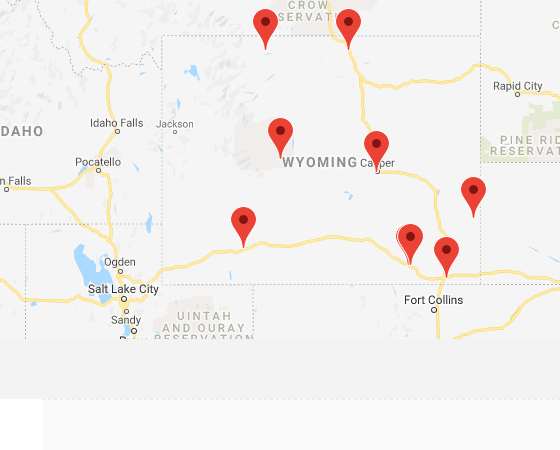 Map of institutions in Wyoming