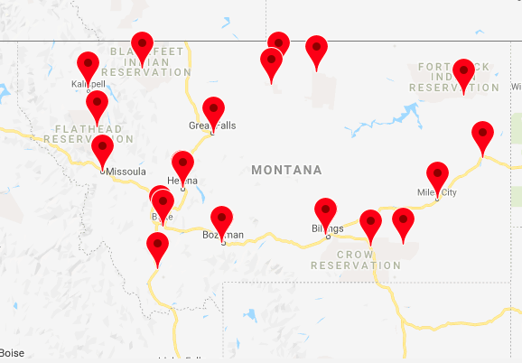 Map of institutions in Montana