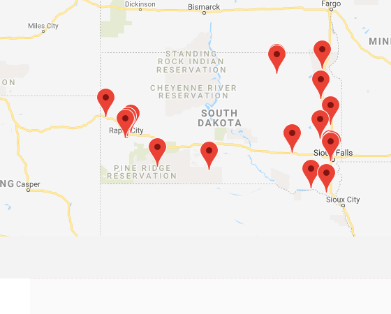 Map of institutions in South Dakota