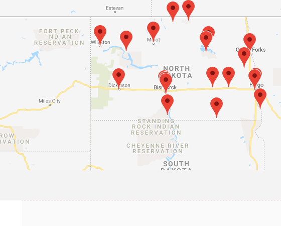 Map of institutions in North Dakota