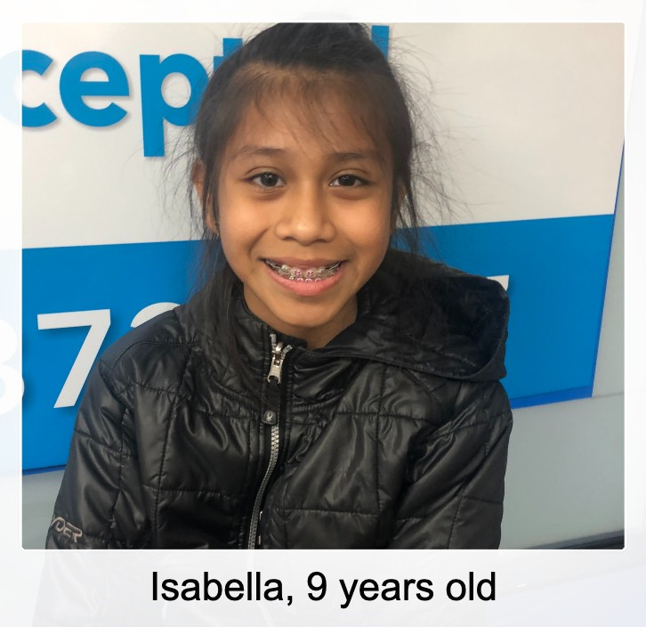 Isabella, braces patient, 9 years old