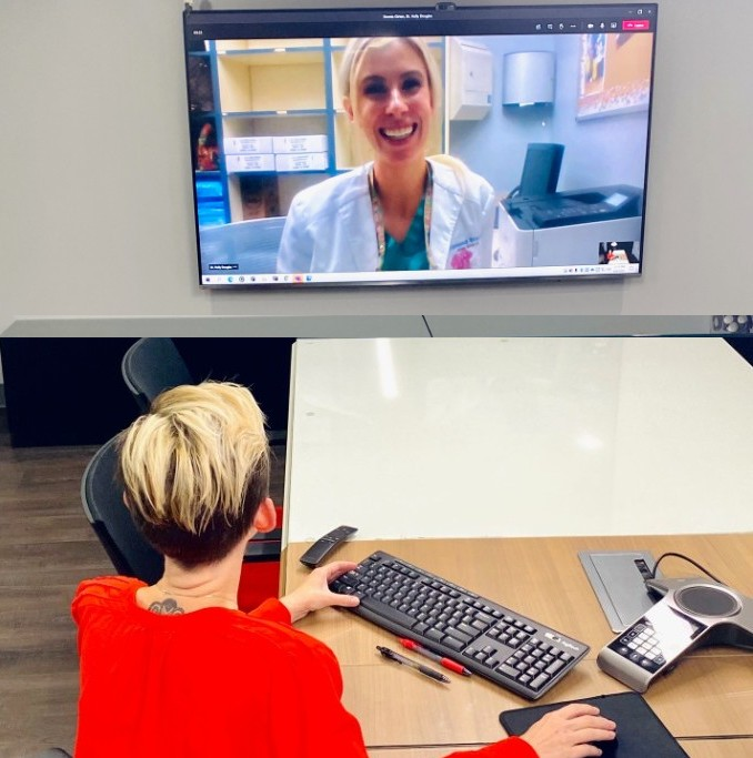 Patient During Virtual Consultation with Orthodontist Dr. Douglas