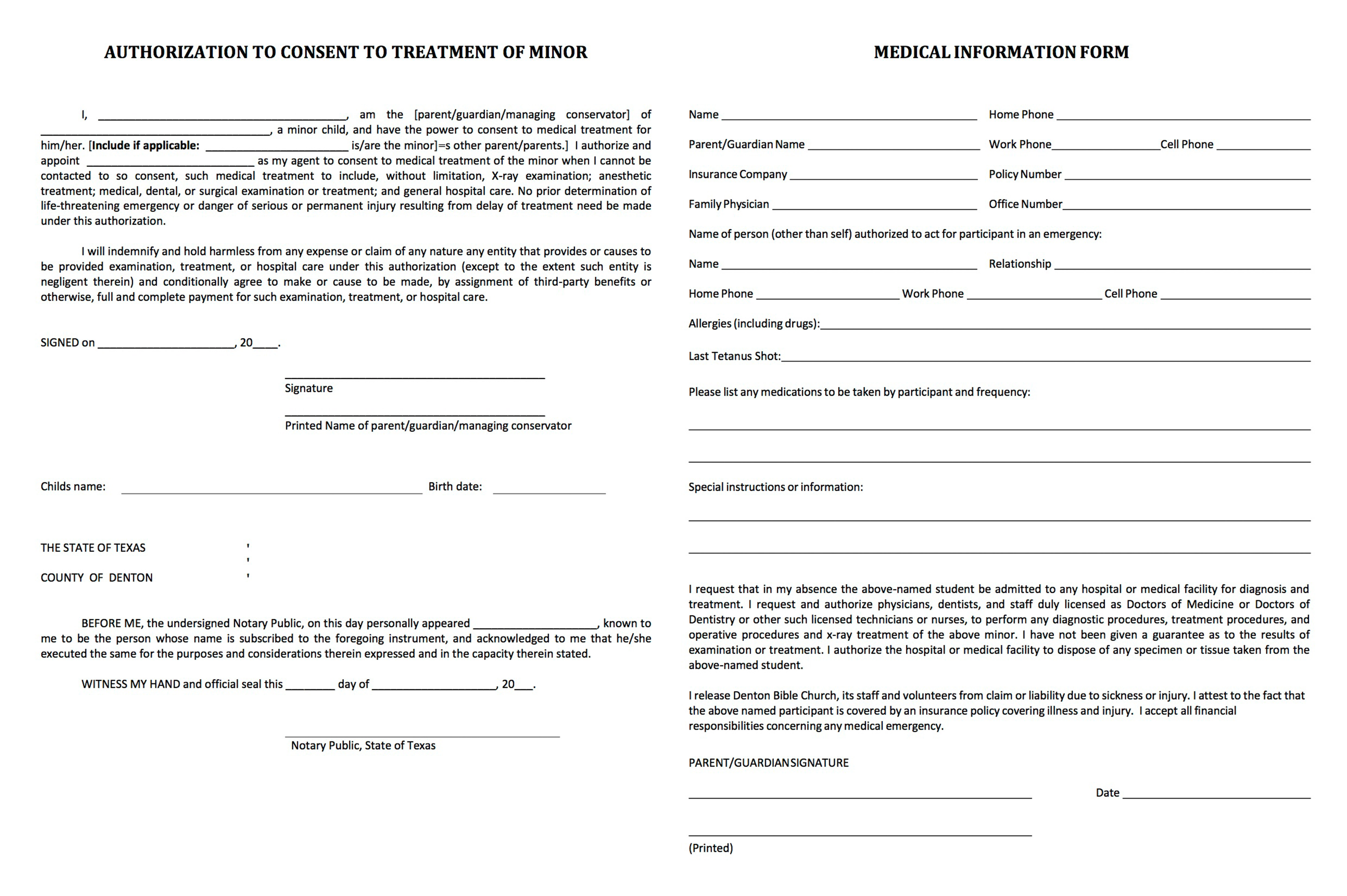 Denton Bible Student Ministries  Liability Waiver Form