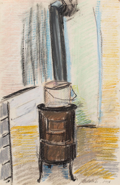 """Jarosław Modzelewski, """"Koza (szkic do obrazu """"Chłopiec palący w kozie"""")"""", 1998 r."""