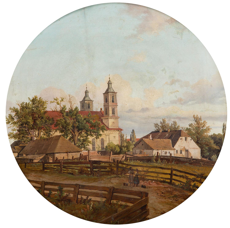 """Kazimierz Górnicki (1838 - 1889 ) """"Widok na kościół w Suwałkach"""", 1873 Muzeum Okręgowe w Suwałkach"""