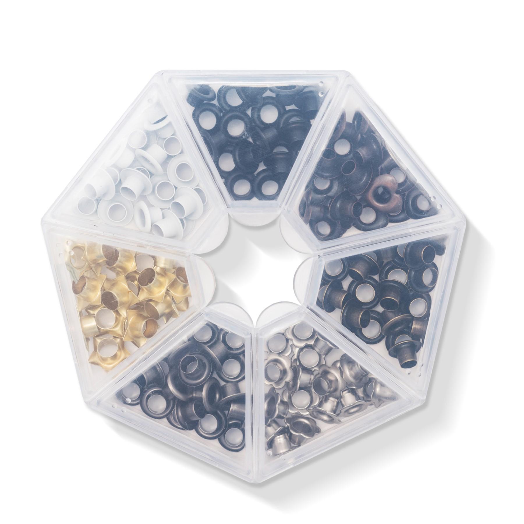 Caja con 140 ojetillos colores metálicos WR