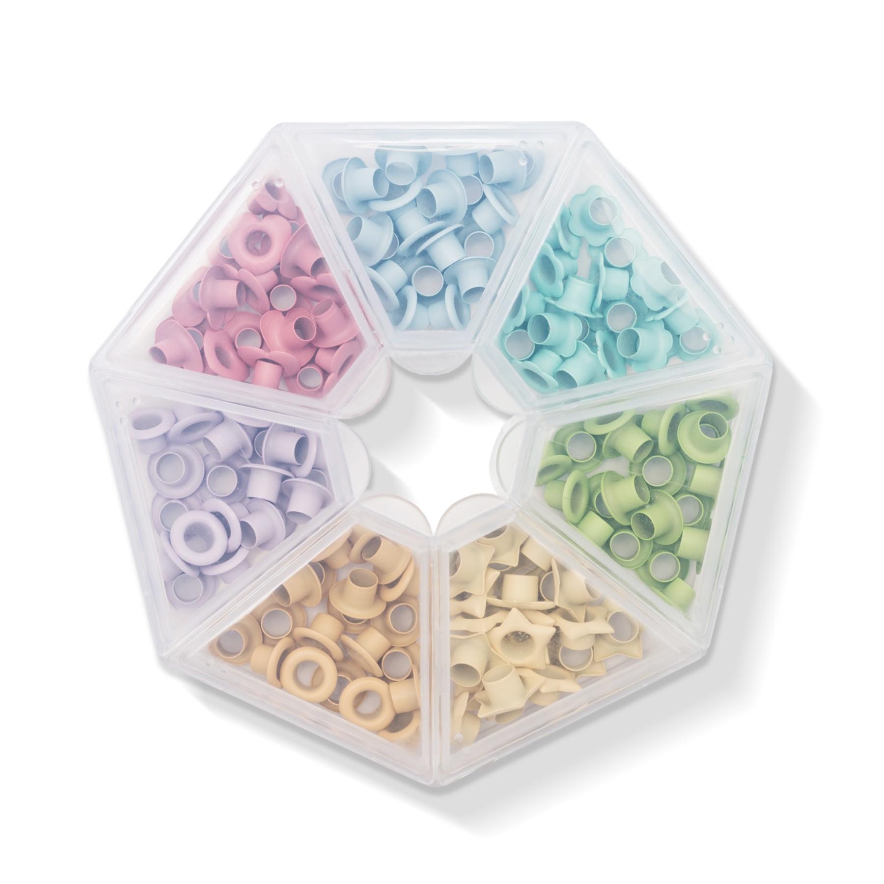 Caja con 140 ojetillos colores pasteles WR