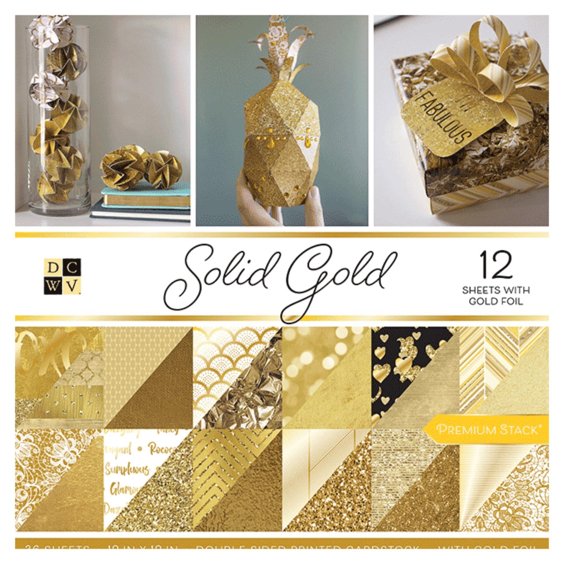 Cartulinas motivos dorados doble cara, 36 hojas 30,5x30,5cm