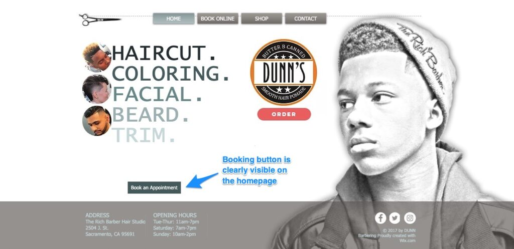Dunn the Barber's booking link shows up on every page of his site