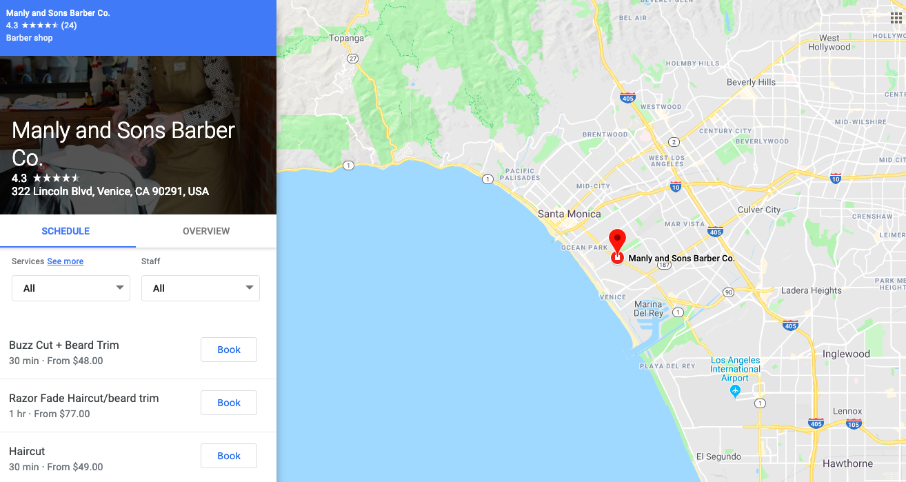 Manly and Sons in Google Maps
