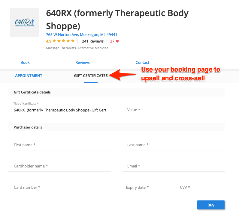 640RX uses its booking page to upsell and cross-sell