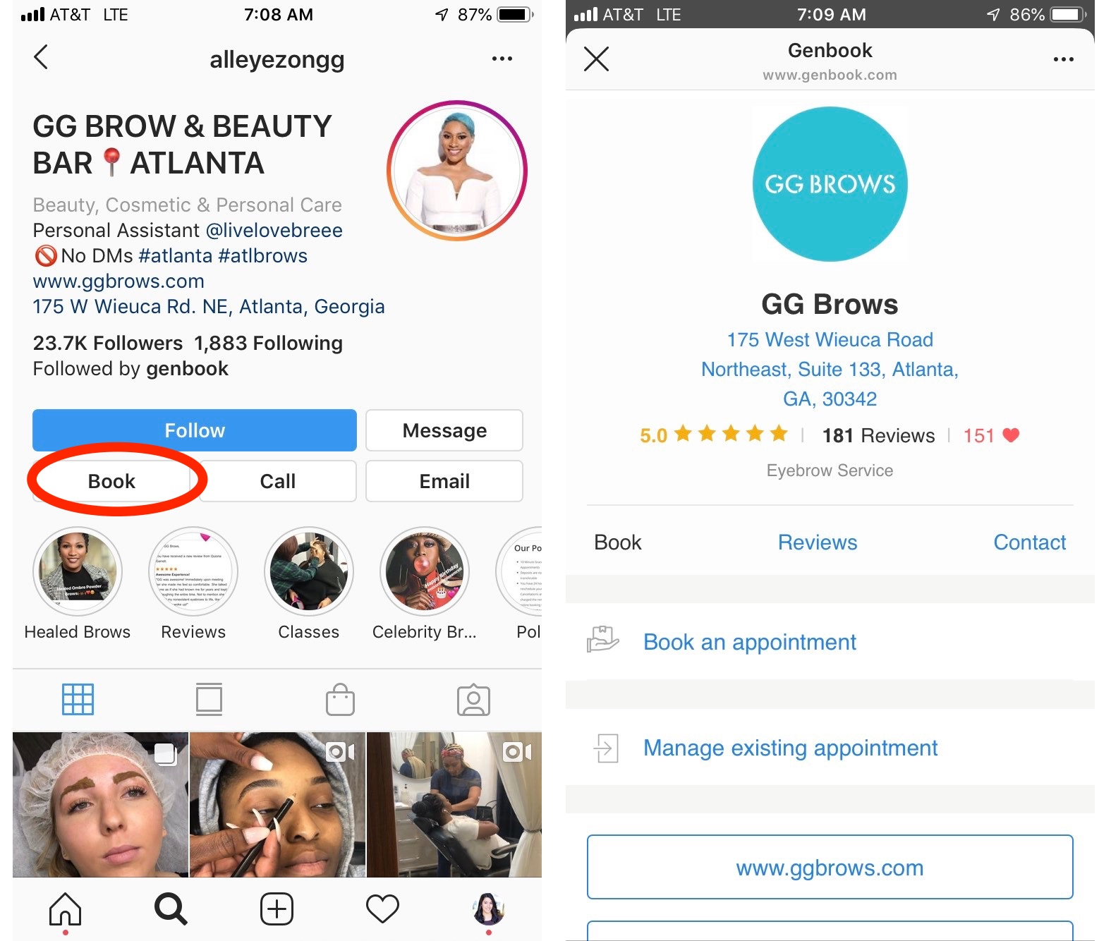 GG Brow and Beauty Instagram