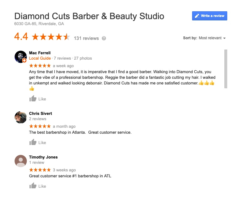 Diamond Cuts Barber Google Reviews