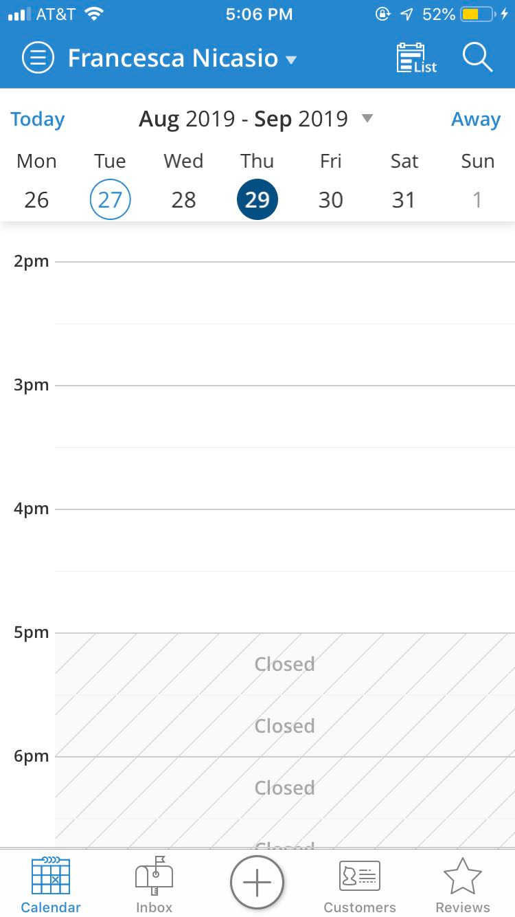 Mobile calendar management