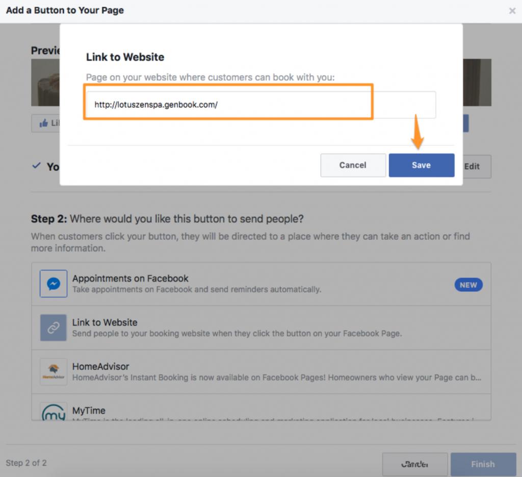 Facebook page genbook setup