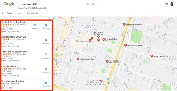 Google maps screenshot with listings