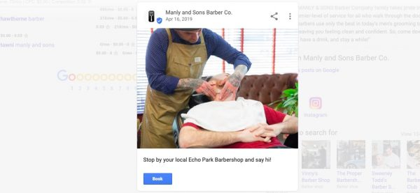 Manly & Sons using Google posts
