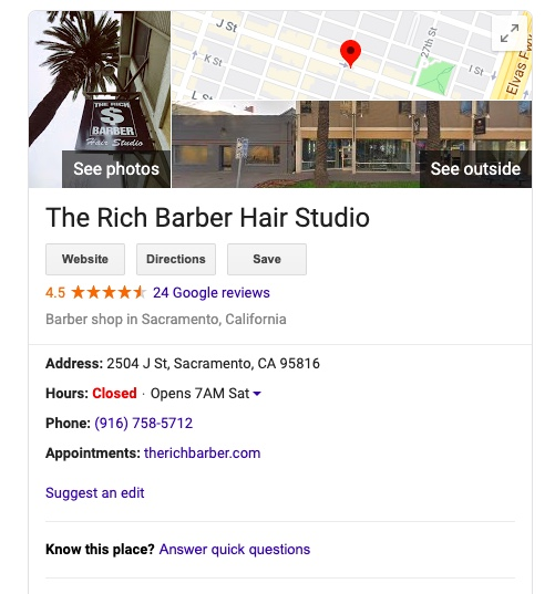 The Rich Barber on Google