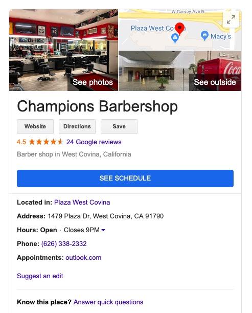 Champions Barbershop Google listing