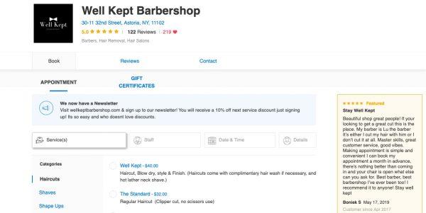 Well Kept Barbershop Genbook page