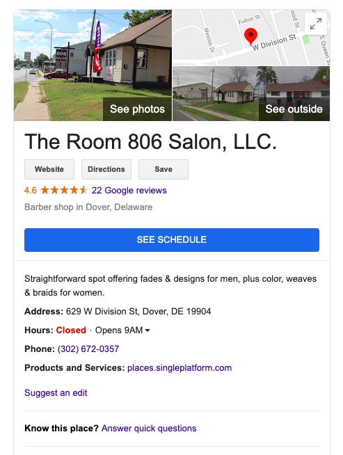 The Room 806 Google listing