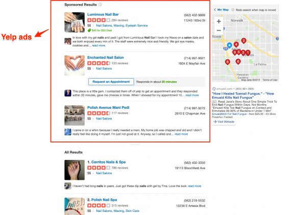 Yelp ads in action