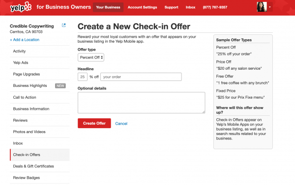 How to create a Yelp check-in offer