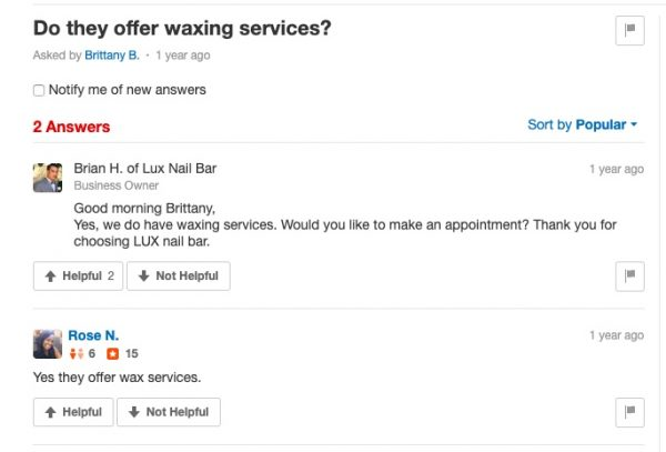 how to use Yelp Q&A